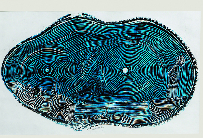 Resonance I by Vasundhara Anand, Abstract Printmaking, Wood Cut on Paper, Gray color