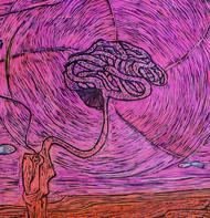 Wanderlust by Vasundhara Anand, Abstract Printmaking, Linocut Print on Paper, Brown color