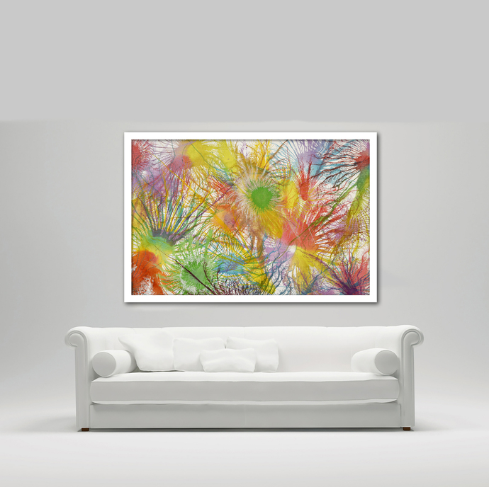 Exploflora Series No. 20 by Sumit Mehndiratta, Abstract Painting, Acrylic on Canvas, Beige color