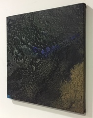 Night ocean - 1 by Vernika , Abstract Painting, Mixed Media on Canvas, Gray color