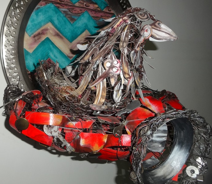 Indian Scooter by Christina Banerjee, Art Deco Sculpture | 3D, Mixed Media on Wood, White color