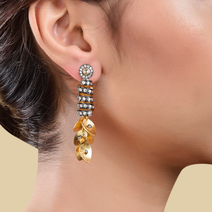 SPIRAL CUBIC ZIRCONIA EARRING by Symetree, Contemporary Earring