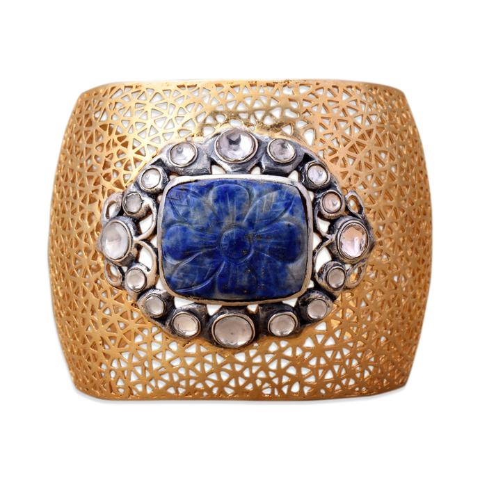 FILIGREE LAPIS CUFF by Symetree, Art Jewellery Bangle