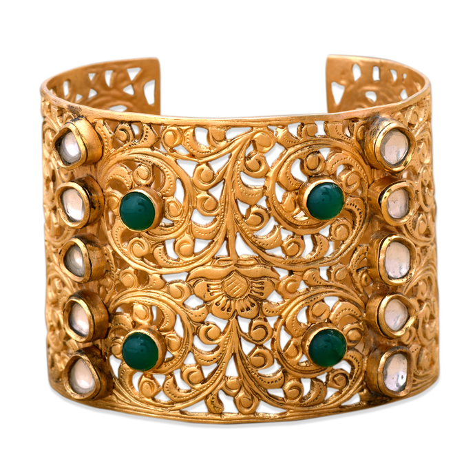 Filigree Aventurine Cuff by Symetree, Art Jewellery Bangle
