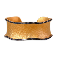 Cz Scallop Edged Cuff by Symetree, Art Jewellery Bangle