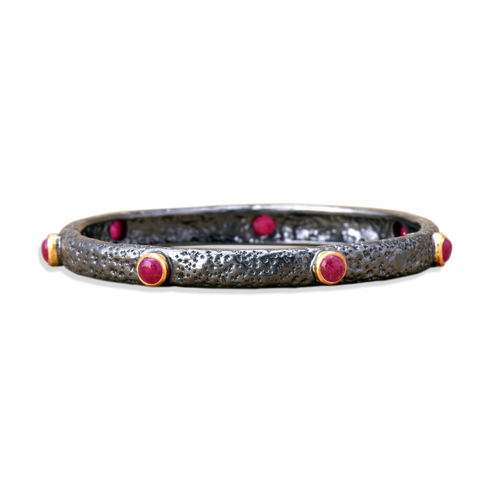 Hematite Ruby Bangle by Symetree, Contemporary Bangle