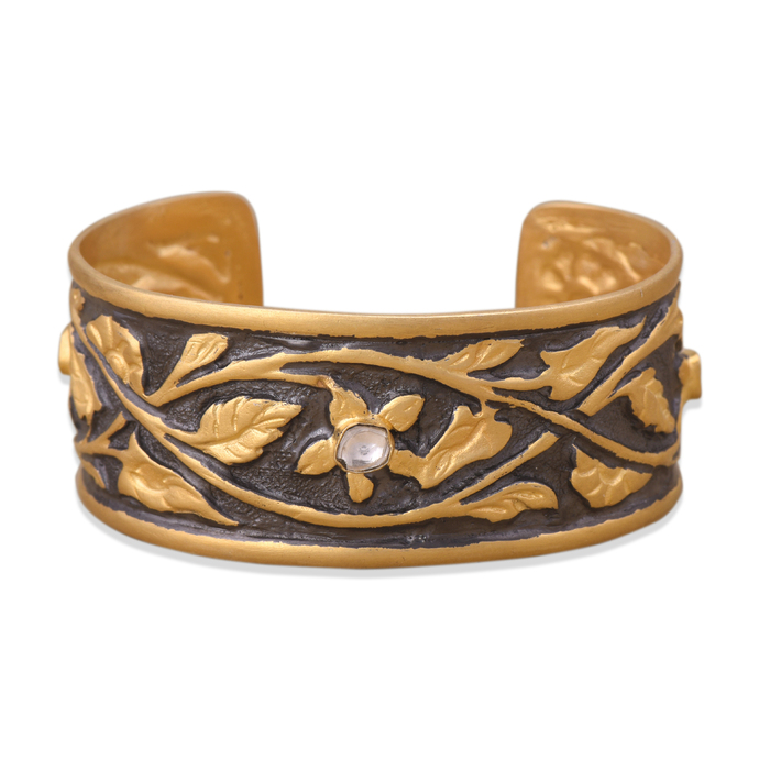 Organic Two-Tone Floral Cuff by Symetree, Art Jewellery Bangle