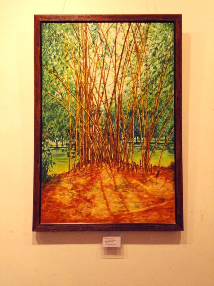Bamboo Grove by Usha Shantharam, Expressionism Painting, Acrylic on Canvas, Green color