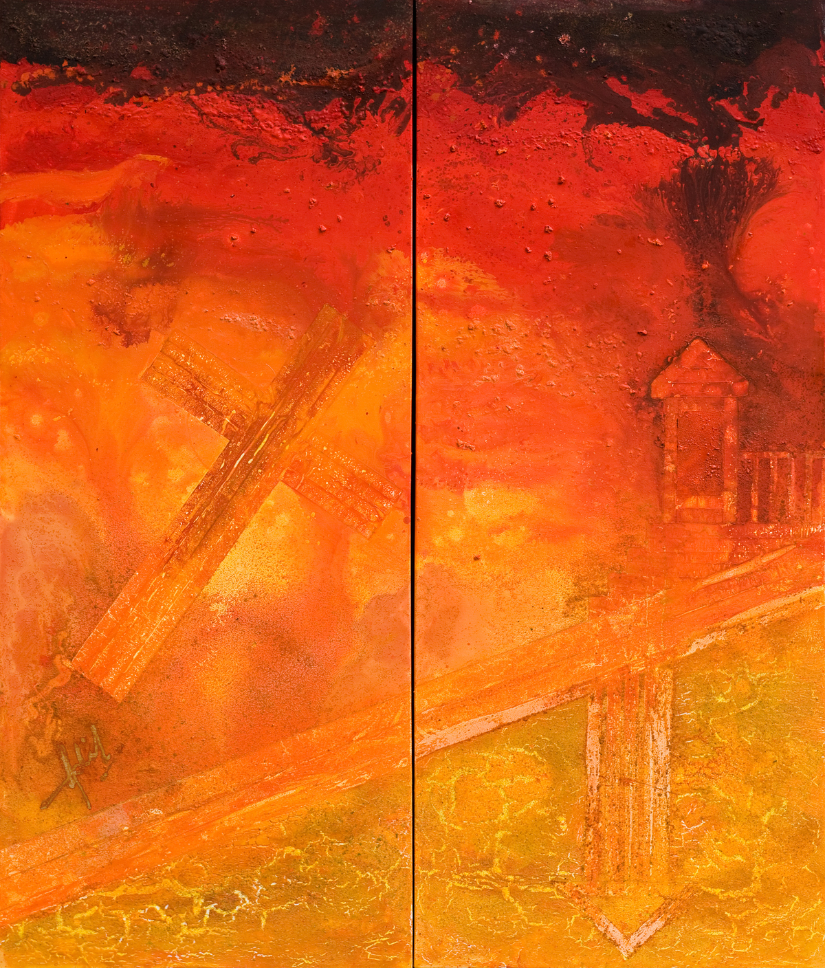 Sentinel series vermillion 56in x 66in diptych adil writer