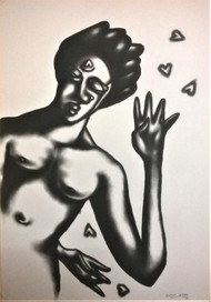 for you again by Rajat Verma, Expressionism Painting, Charcoal on Paper, Gray color