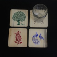 IVEI Sanjhi print wooden coasters set of 4 Kitchen Ware By i-value-every-idea