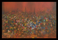 City of my dream by M Singh, Abstract Painting, Acrylic on Canvas, Brown color