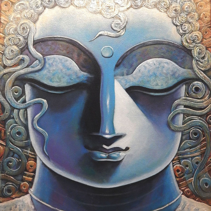 GOUTAM by Subrata Ghosh, Expressionism Painting, Acrylic on Canvas, Gray color
