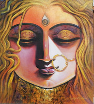 SHAKTI by Subrata Ghosh, Expressionism Painting, Acrylic on Canvas, Brown color
