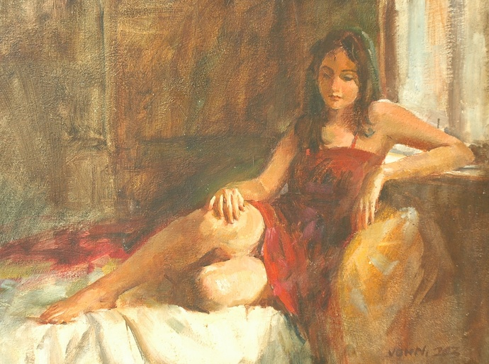 Charming Sasha by John Fernandes, Impressionism Painting, Oil on Canvas, Brown color