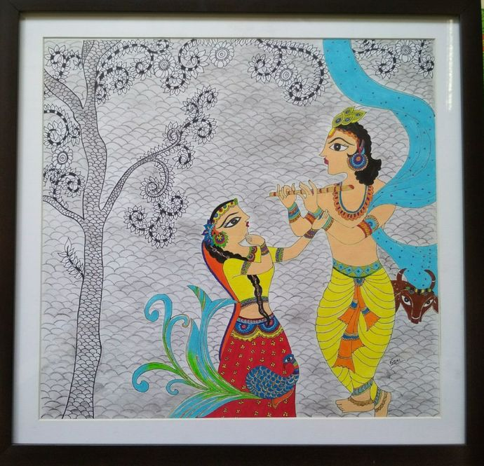 Bond of spirituality by Soni, Folk Painting, Acrylic on Paper, Green color