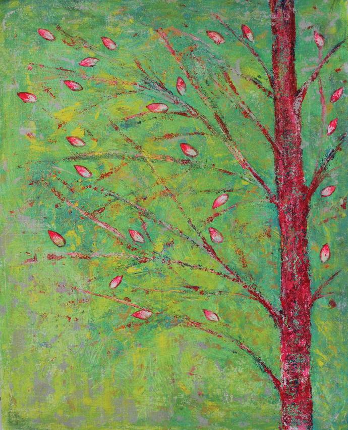 soul tree : serenity by Cheena Madan, Expressionism Painting, Acrylic on Canvas, Green color