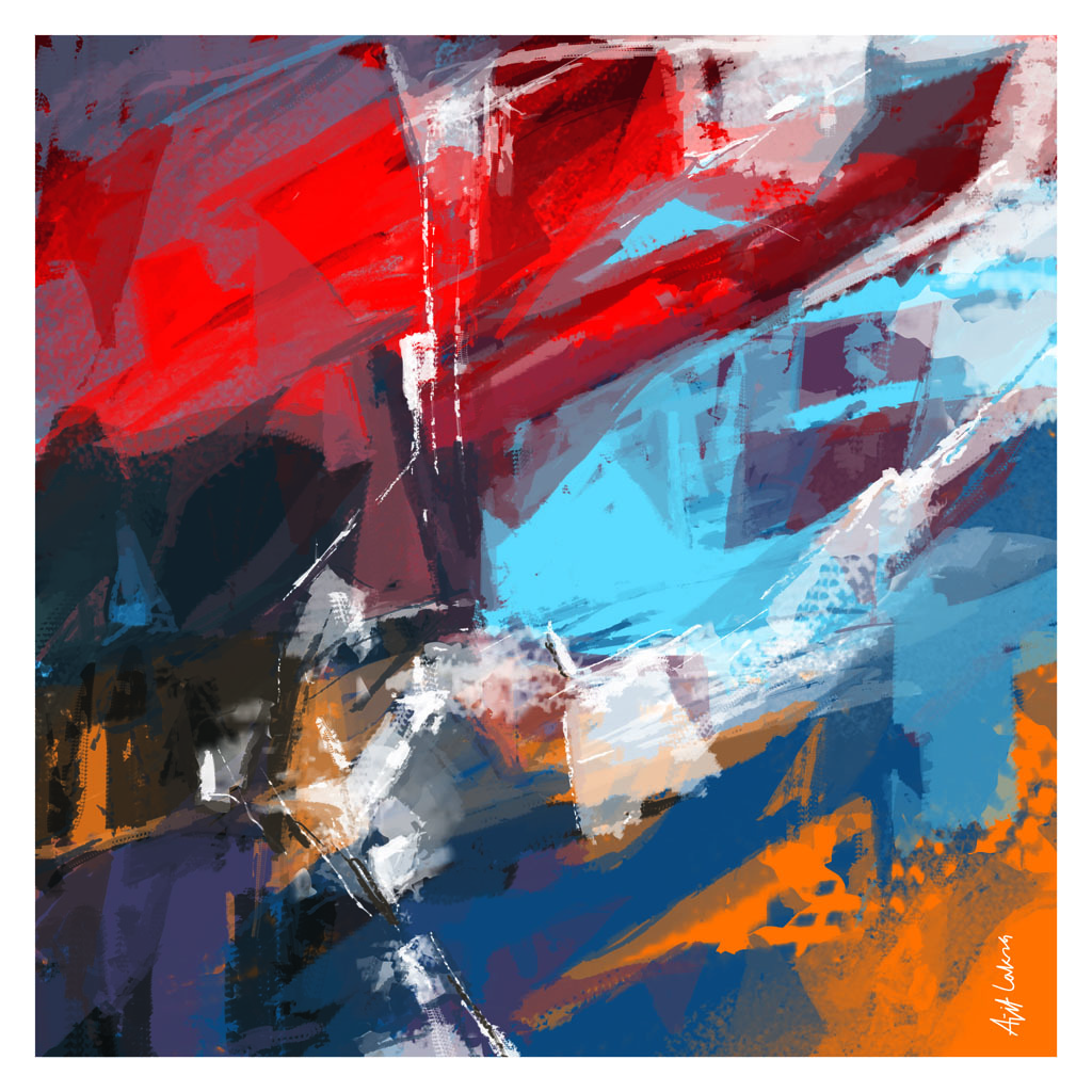 Untitled-R by Ajit Lakra, Abstract Digital Art, Digital Print on Canvas,