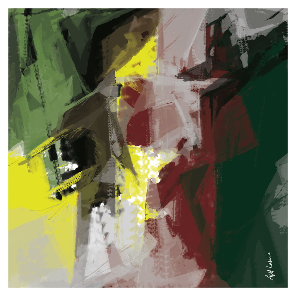 Untitled -A1 by Ajit Lakra, Abstract Digital Art, Digital Print on Canvas,