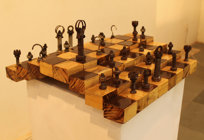 Chess by NAVJOT SOHAL, Art Deco Sculpture | 3D, Acrylic on Wood, Beige color