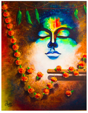 Silent Flute by Ankita Sancheti, Expressionism Painting, Acrylic on Canvas, Brown color