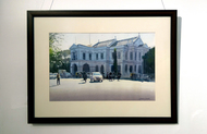 Traffic near Mayo Hall by Ramesh Jhawar, Impressionism Painting, Watercolor on Paper, Gray color