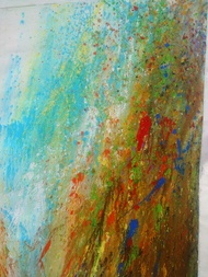 Waterfall by Anshu, Abstract Painting, Acrylic on Canvas, Brown color