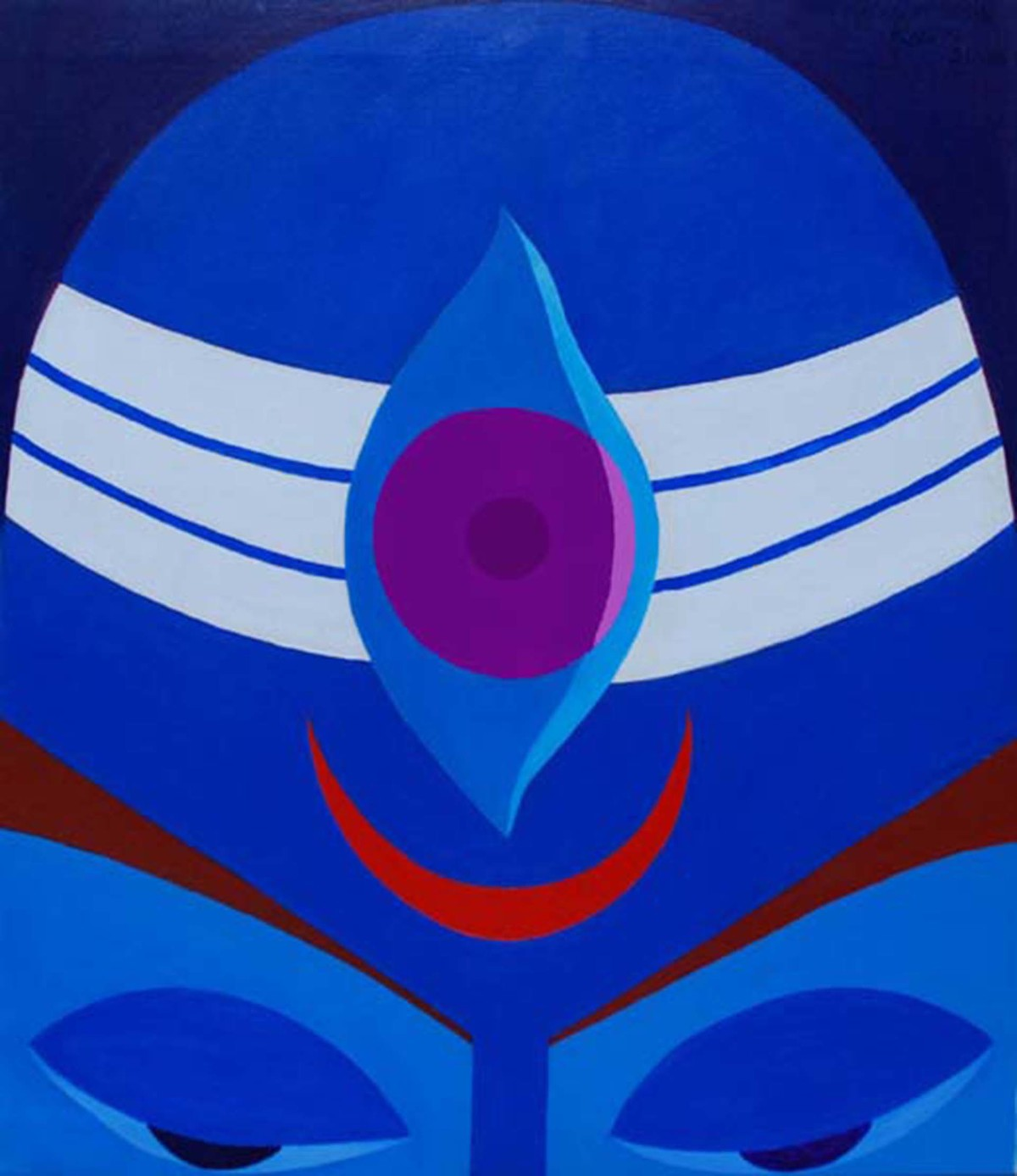 Untitled by Ram Rokade, Traditional Painting, Acrylic on Canvas, Blue color