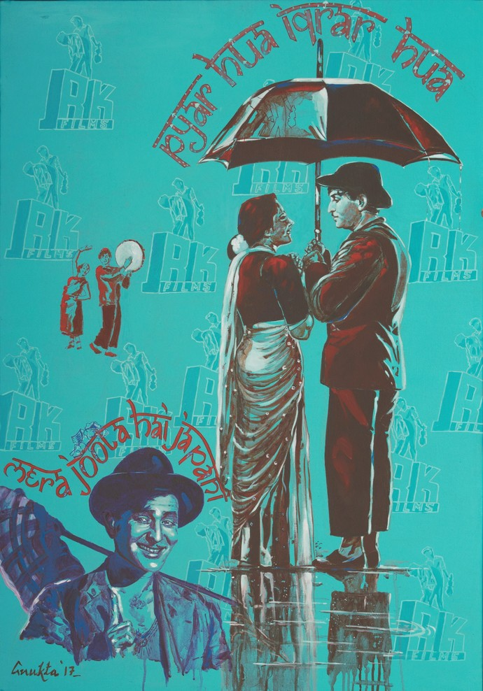 """THE SHOWMAN - from the series """" MY BRUSH WITH BOLLYWOOD"""" by Anukta Mukherjee Ghosh, Expressionism Painting, Acrylic & Graphite on Canvas, Cyan color"""
