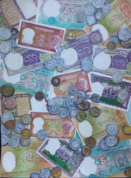 Indian Currency by Aastha Bairollia, Expressionism Painting, Watercolor on Paper, Brown color