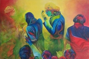 HOLI by Shatakshi Sharma , Expressionism Painting, Acrylic on Canvas, Green color