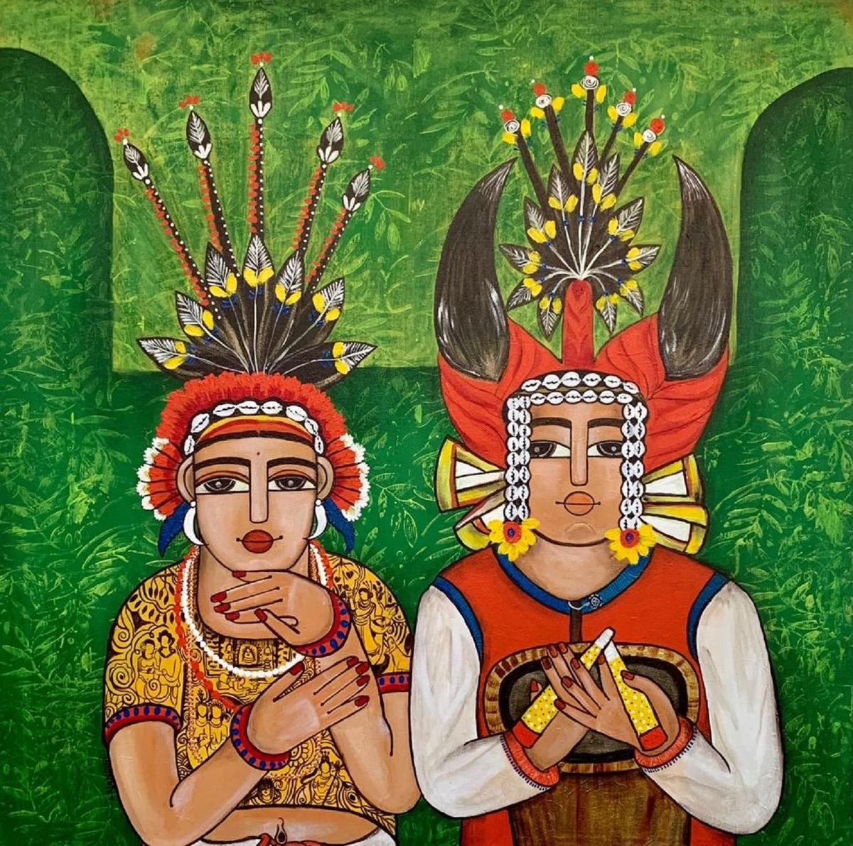 Chhattisgarih Dancers by Nandini, Expressionism Painting, Acrylic on Canvas, Green color