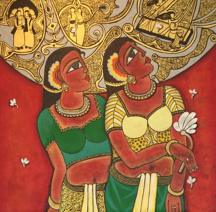 Friend together by Nandini, Expressionism Painting, Acrylic on Canvas, Brown color