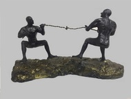 Tug of war by Vernika, Abstract Sculpture | 3D, Metal, Green color