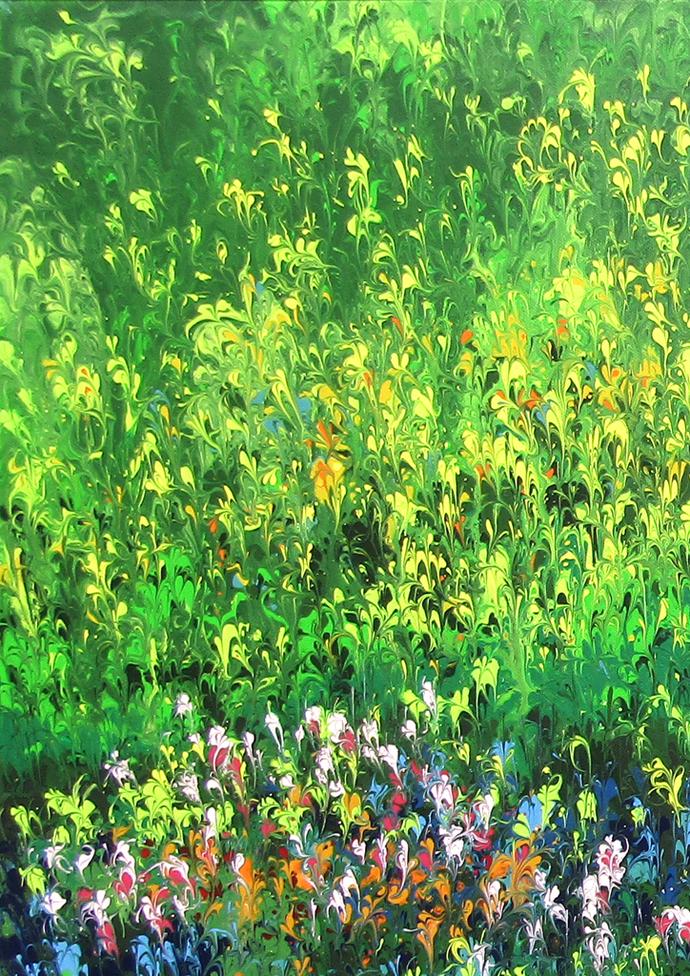 Bahar-e-Gul (Flowery Spring) Digital Print by kaukab Ahmad,Abstract