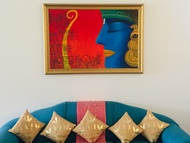 Contemporary Lord Ram with bow by Kangana Vohra , Decorative Painting, Acrylic & Ink on Canvas, Red color