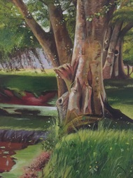 Tree by the pond by Kangana Vohra , Impressionism Painting, Acrylic on Canvas, Green color