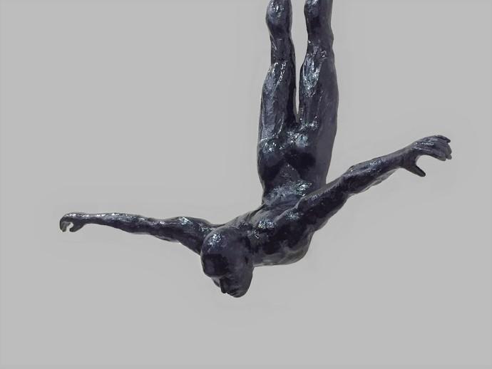 The Diver by Vernika, Art Deco Sculpture   3D, Metal, Gray color