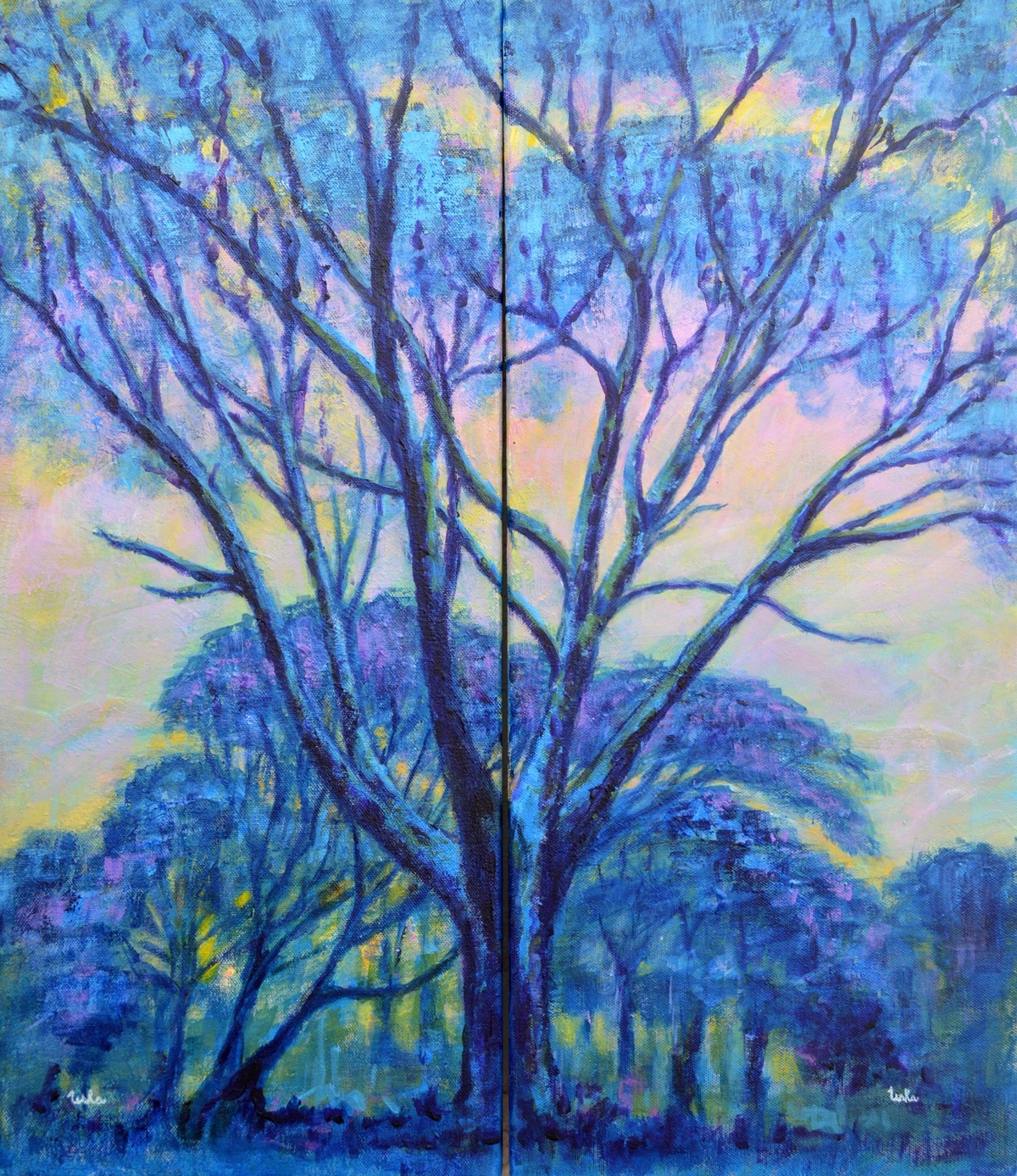 Diptych Landscape by Usha Shantharam, Impressionism Painting, Acrylic on Canvas, Blue color
