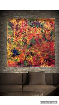 autumn love by shelja, Abstract Painting, Mixed Media on Canvas, Brown color