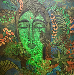 Peace of Nature by Mamata Shingade, Expressionism Painting, Acrylic on Canvas, Green color
