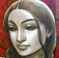 """Radhika,Mixed Media on Canvas by Contemporary Artist """"In Stock"""" by Sukanta Das, Expressionism Painting, Mixed Media on Canvas, Brown color"""