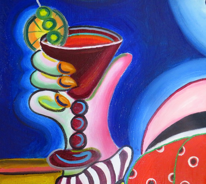 Women with head set sipping red wine by Mahalakshmi R, Expressionism Painting, Oil on Canvas, Green color
