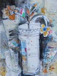 """Flower Vase, Mixed Media on paper, Blue, Red, Black by Indian Artist """"In Stock"""" by Sekhar Kar, Expressionism Painting, Mixed Media on Paper, Cyan color"""