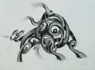 Breath Of Life 2 by AASHISH TANWAR, Illustration Drawing, Charcoal on Paper, Gray color