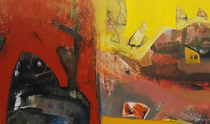 Antahkaran by Tapas Ghosal, Abstract Painting, Acrylic on Canvas, Brown color