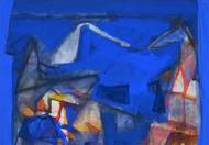 Untitled by Tapas Ghosal, Abstract Painting, Watercolor on Paper, Blue color