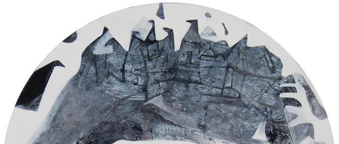 Cityscape, landscape, covered in snow, in acrylic on canvas by Indian artist by Tapas Ghosal, Abstract Painting, Acrylic on Canvas, Gray color