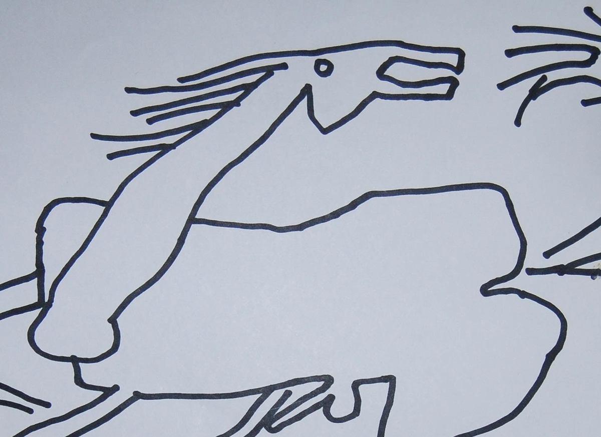 Prakash karmakar horse ink on paper detail 1