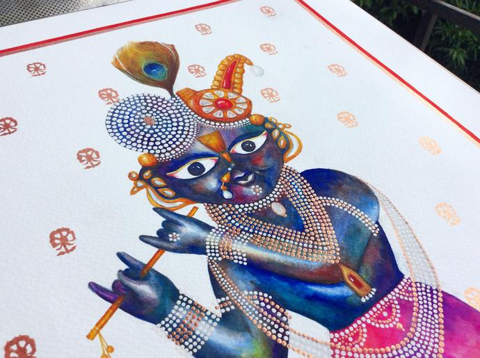 Bal Mukund by Priyanka Joshi, Folk Painting, Watercolor on Paper, White color